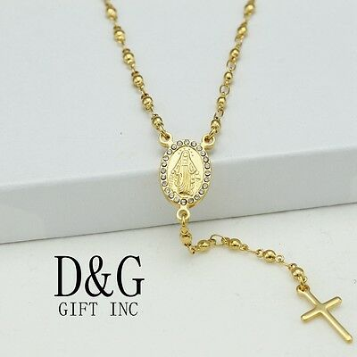 DG Stainless-Steel Gold Rosary VIRGIN MARY + CROSS CZ Necklace*Unisex ,BOX
