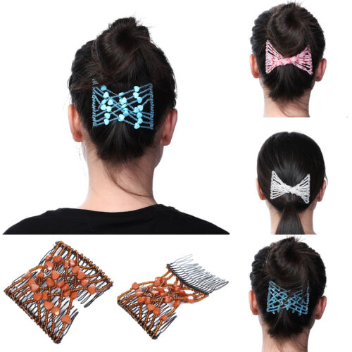 Women's Easy Magic Hair Comb Beads Elasticity Clips Double H