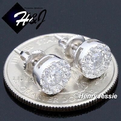 MEN 925 STERLING SILVER 8MM LAB DIAMOND ICED ROUND SCREW BACK STUD EARRING*E143