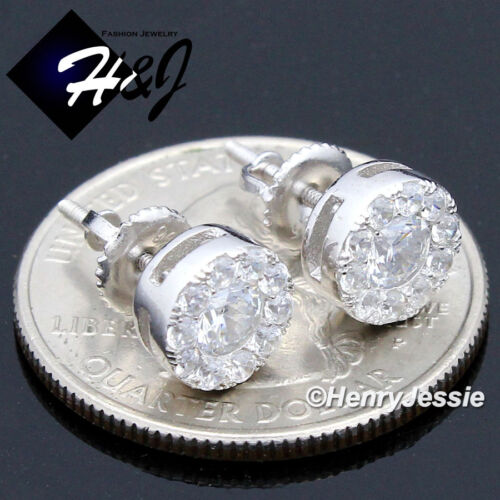 MEN 925 STERLING SILVER 8MM ICY DIAMOND BLING ROUND SCREW BACK STUD EARRING*E143