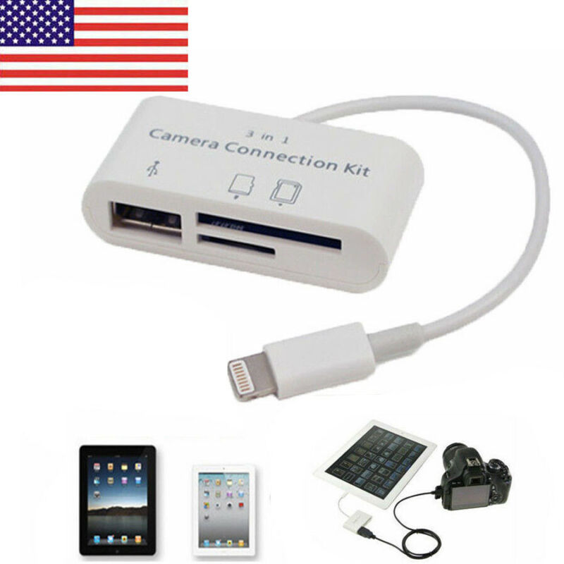 3 in1 USB SD Card Reader Micro Camera DSLR Link Adapter reader for iPad iphone