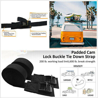2 Pcs 9.8ft Car Cam Buckle Tie Down Straps Universal For Kayak Surfboard Bicycle