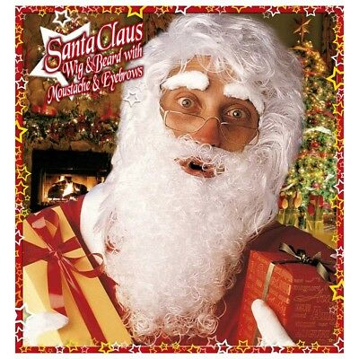 WEIHNACHTSMANN BART Augenbrauen Weihnachtsmannbart Nikolaus Kostüm Perücke - Mann Bart Kostüm