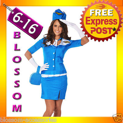 Air Hostess Fancy Dress (I43 Retro Stewardess Flight Attendant Air Hostess 60s 70s Fancy Dress Up Costume)