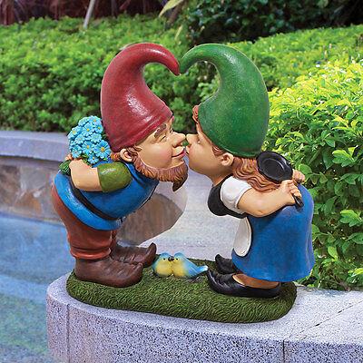 KISS AND TELL LOVER GNOMES STATUE DESIGN TOSCANO gnome statues  garden gnomes
