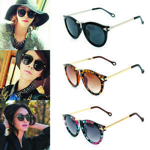 Fashion-Women-Sunglasses-Round-Glass-Retro-Plastic-Frame-Arrow-Glasses-Eyewear