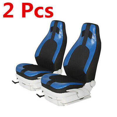 2 Pcs Black+Blue Front Seat Cover Protector Cushion For Universal Sedan Car
