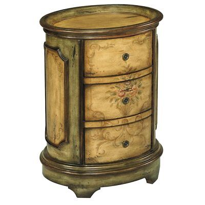 NEW FRENCH EUROPEAN FLORAL PAINTED SAGE Wood SIDE END ACCENT TRAY Table