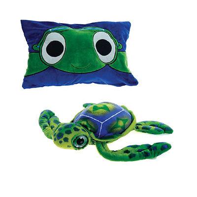 Peek-A-Boo Pillow Plush Stuffed Animal Toy Big Eye Sea Turtle Green Blue NEW