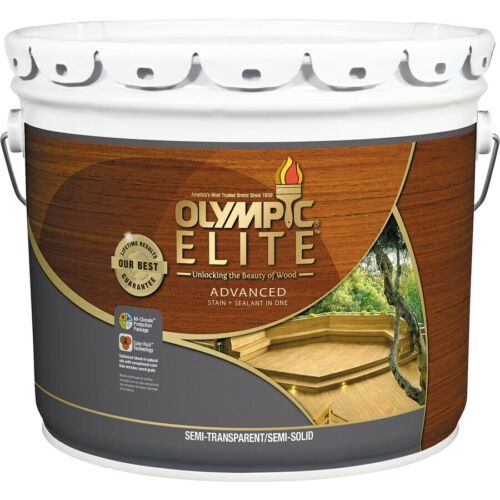 Olympic Elite Stain and Sealant Oil Based Semi-Transparent Stain 3-Gallons 80204