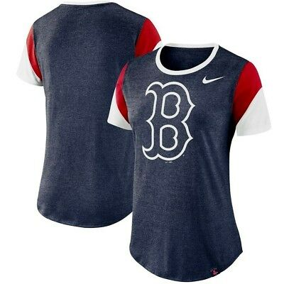 - NEW NIKE Boston Red Sox Women's Heathered Navy Sleeve Stripes Tri-Blend T-Shirt