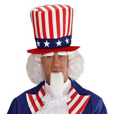 Weiße Kostüm Bart (WEIßE MR AMERIKA PERÜCKE & BART Karneval USA Präsident Herren Kostüm Party 06750)