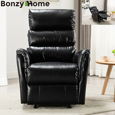 Modern Manual Recliner Chair Glider Breathable Leather Living Room Sofa Black
