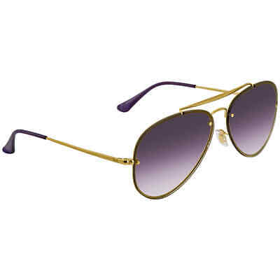Ray Ban Blaze Avaitor Violet Blue Gradient Mirror Aviator Unisex (Avaitor Sunglasses)
