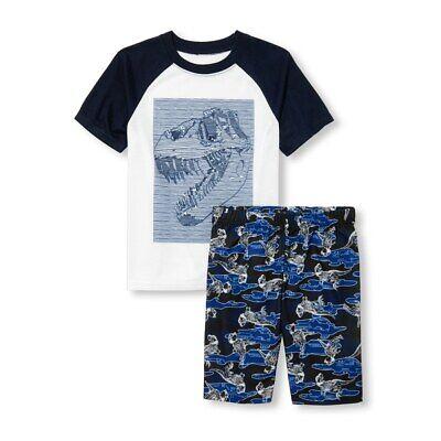 Boys Skeleton Pyjamas (NWT The Childrens Place Dinosaur Skeleton Boys Short Sleeve Pajamas)