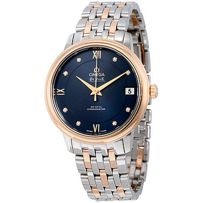 Omega De Ville Prestige Co-Axial Automatic Blue Dial Stainless Steel and 18kt