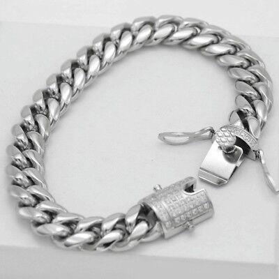 "DG Men's 8.5""Silver Stainless Steel 12mm Miami Cuban-Curb CZ Buckle Bracelet,Box"