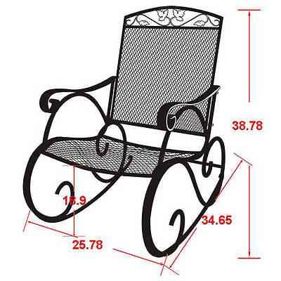 Porch Rocking Chair Wrought Iron Outdoor Rocker Patio Glider Deck Seat NEW ()