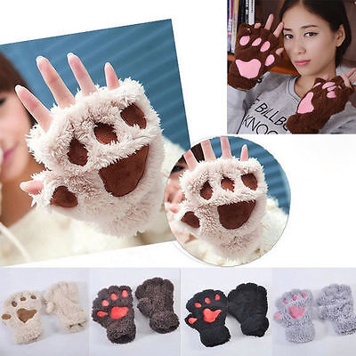 New Women Winter Warm Paw Gloves Fingerless Fluffy Lovely Bear Cat Plush Paw Top