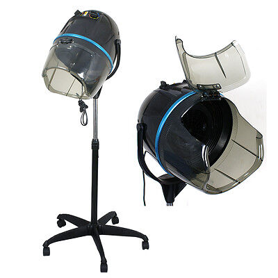 In use accustomed to Adjustable Salon Rolling Hair Dryer Stand Up Bonnet Hood Floor Dryer Wheels
