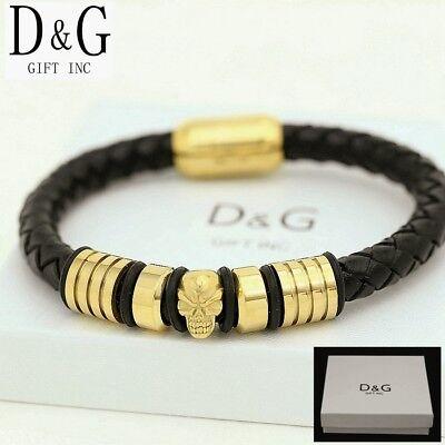 """DG Men's 8"""" Stainless-Steel Gold,Black Braided,Leather.Skull Bracelet Unisex*BOX"""