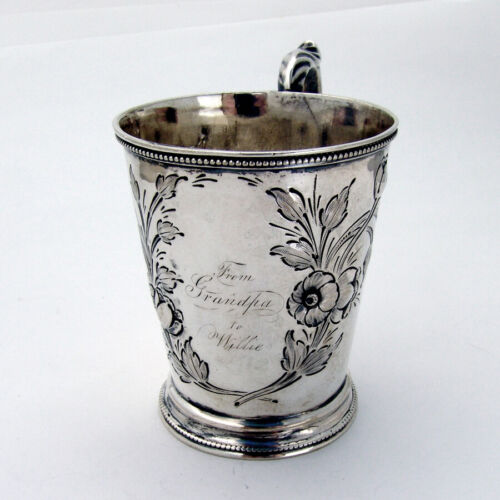 Repousse Floral Childs Cup Mug Beaded Rims Coin Silver Mono