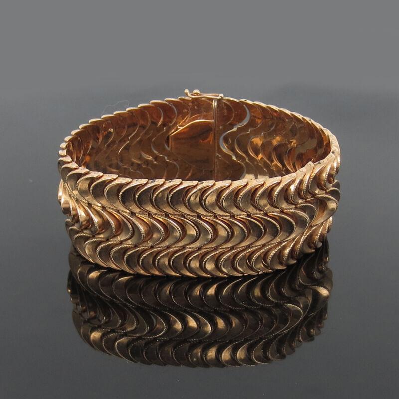 1950's Retro 14k Rose Gold 28mm Wide Wavy Link Hand Made Bracelet