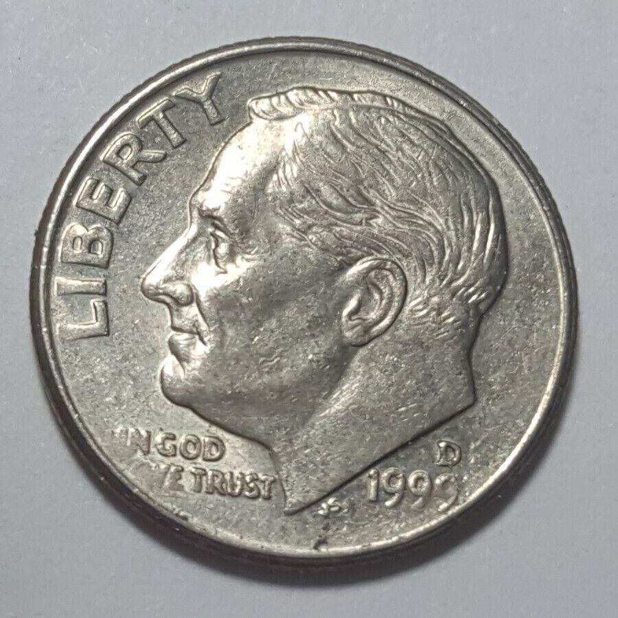 1999 D Roosevelt Dime 10c DDR Double Die Reverse Error Coin - $0.99