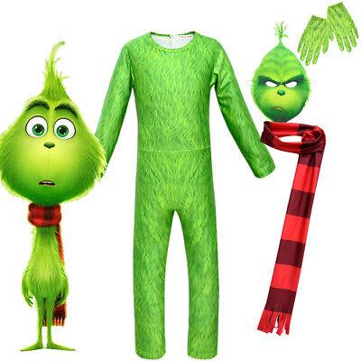Kinder Jungen The Grinch Cosplay Overall Maske Kostüm - Grinch Kostüme Maske