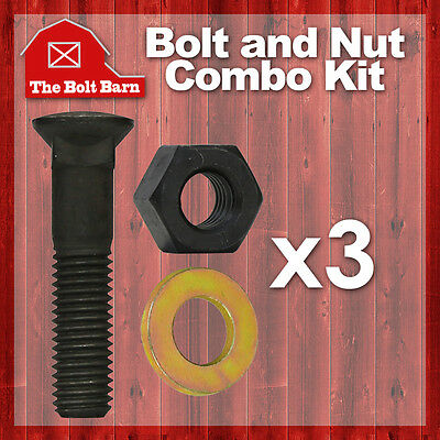 3 58-11x3 Grade 8 Dome Head Plow Blade Bolts 58-11 Heavy Hex Nuts Washers