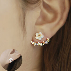 Gold Plated Daisy Flower Double Earrings Studs Simple Fashion Gift Present