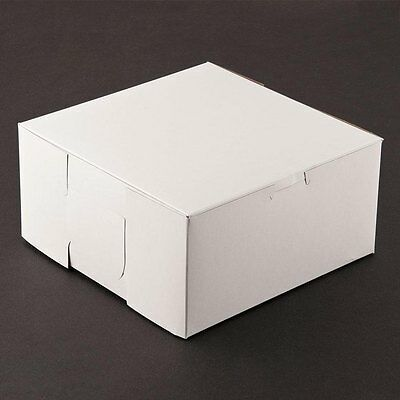 10 Count White 8x8x4 Bakery Or Cake Box