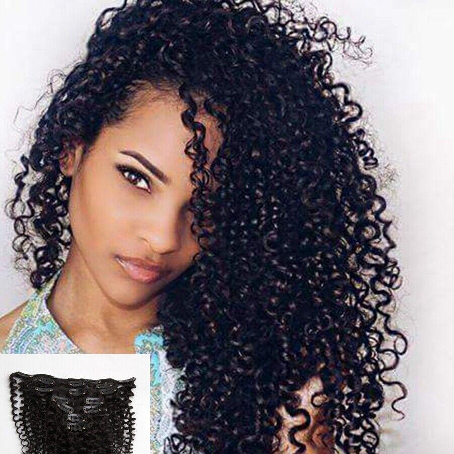 7pcs Set Black Kinky Curly 100 Remy Human Hair Clip In Human Hair
