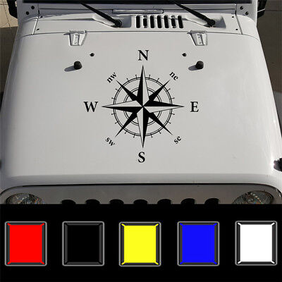 Hood Car Sticker Black Compass Totem Box and Needle 50x50cm Vinyl Bonnet Decal