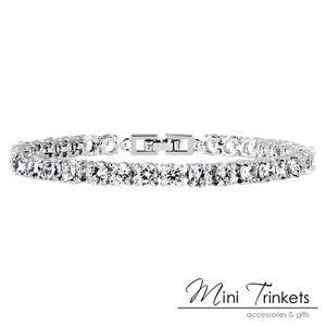 White gold plated wedding crystal tennis bracelet made with Swarovski Elements