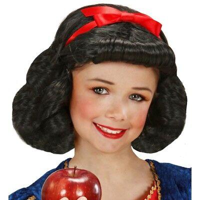 SCHWARZE SCHNEEWITTCHEN PERÜCKE Märchen Mädchen Kinder Kostüm Verkleidung 00829 ()