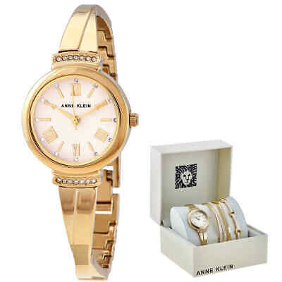 Anne Klein Blush Dial Ladies Watch and Bracelet Set AK/3414BHST