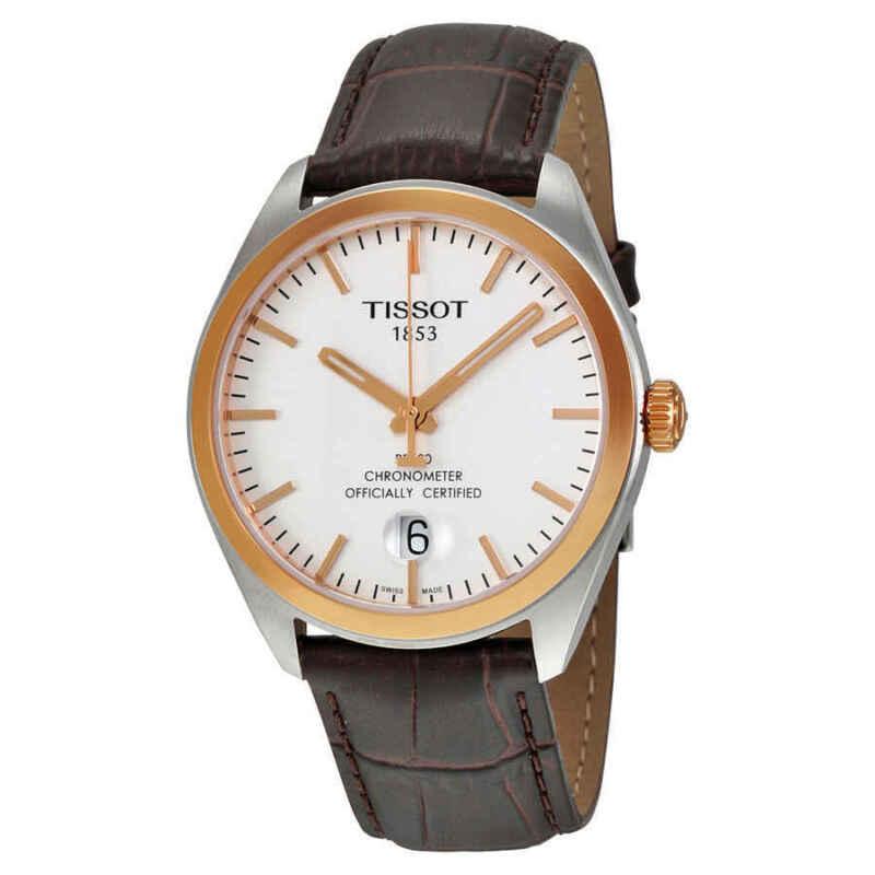 Tissot PR100 Silver Dial Brown Leather Men Watch T1014512603100