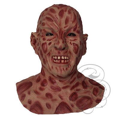 Berühmte Kostüm (Halloween Latex Horror berühmt brennen Gesicht Körper Freddie Fleisch Kostüm)