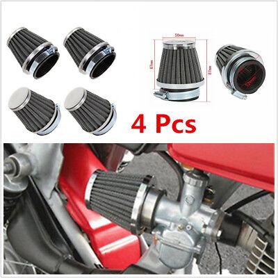 4 PCS BLACK MUSHROOM UNIVERSAL 52MM MOTORCYCLES COLD AIR FILTER POD CL