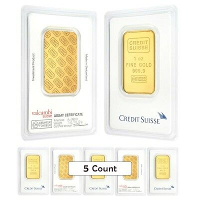 Lot of 5 - 1 oz Credit Suisse Gold Bar .9999 Fine (In Assay)