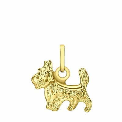 TJC 9ct Yellow Gold Texture Yorkshire Terrier Charm Pendant for Women & Girls