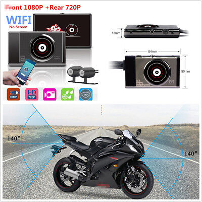 Waterproof Wifi Motorcycle ATV 1080P+720P Full HD Hidden DVR Rear View Recorder