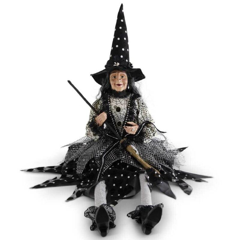 "Halloween Victorian Witch Shelf Sitter Doll Figure Polka Dot Hat Dress 30"""