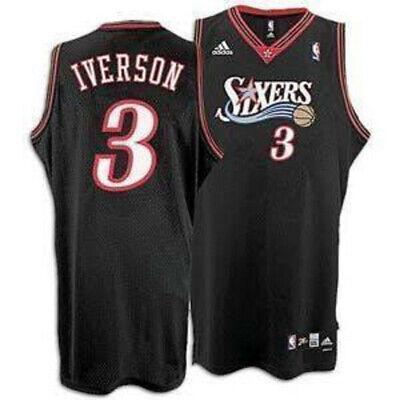 IVERSON CAMISETA DE LA NBA DE LOS SIXERS NEGRA. TALLA S,M,XL,2XL,3XL.
