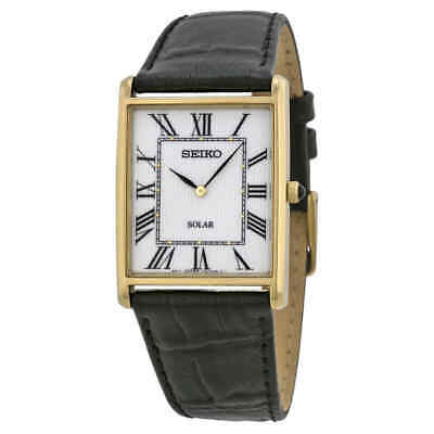 Seiko Solar White Dial Black Leather Men's Watch SUP880