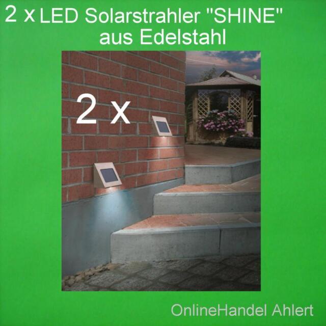 2 x LED Solar Spotlight Wall Light Stainless Steel Shine