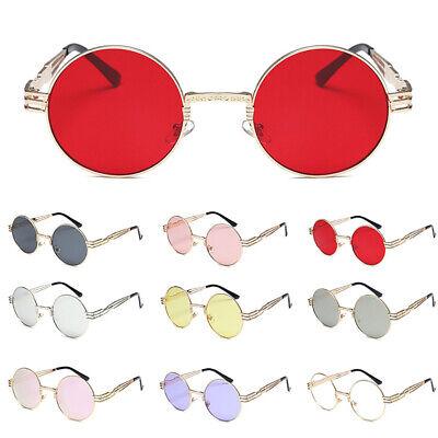 Men Women Round HD Visual Eyewear Retro Steampunk Sunglasses Metal Glasses (Visual Eyewear)