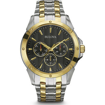 Bulova Mens Classic Collection Two Tone Analog Watch, Silver/Gold Finish, 98C120
