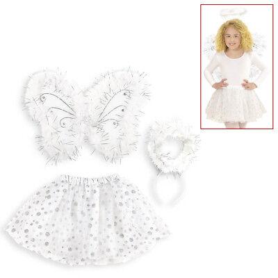 KINDER ENGELSKOSTÜM # Weihnachten Kleid Flügel Heiligenschein Engel Kostüm 96546 ()